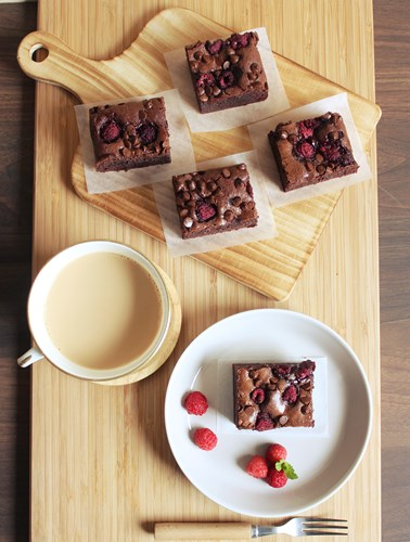 chocolate raspberry brownies3